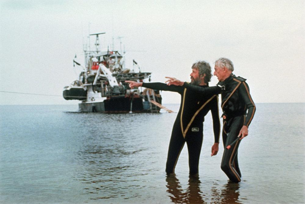 Jacques-Yves Cousteau en compagnie de son fils Jean-Michel
