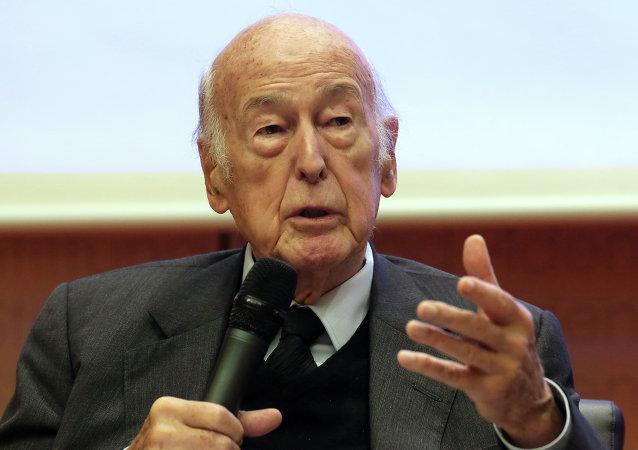 Former French president, Valery Giscard d'Estaing , speaks during the Europa Forum