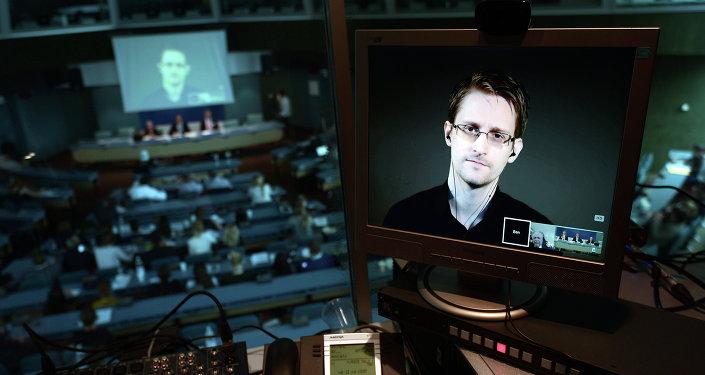 NSA former intelligence contractor Edward Snowden is seen via live video link from Russia on a computer screen during a parliamentary hearing on the subject of Improving the protection of whistleblowers, on June 23, 2015, at the Council of Europe in Strasbourg