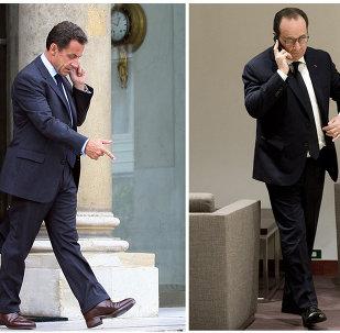 Nicolas Sarkozy (à gauche), Francois Hollande (au centre) et Jacques Chirac