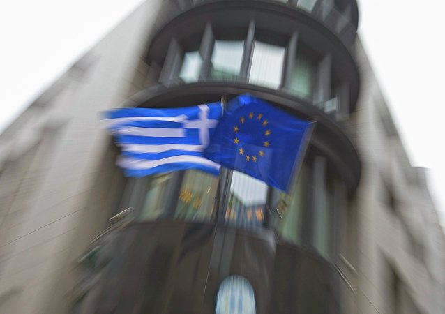 Drapeaux de la Grèce et de l'UE