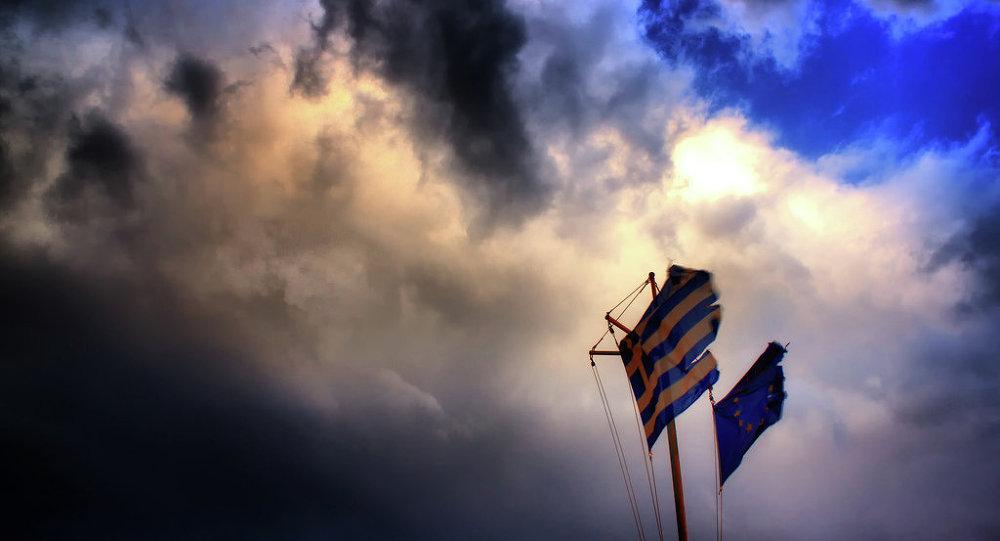 Les drapeaux de la Grèce et de l'UE
