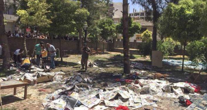Lieu de l'explosion à Suruc, Turquie