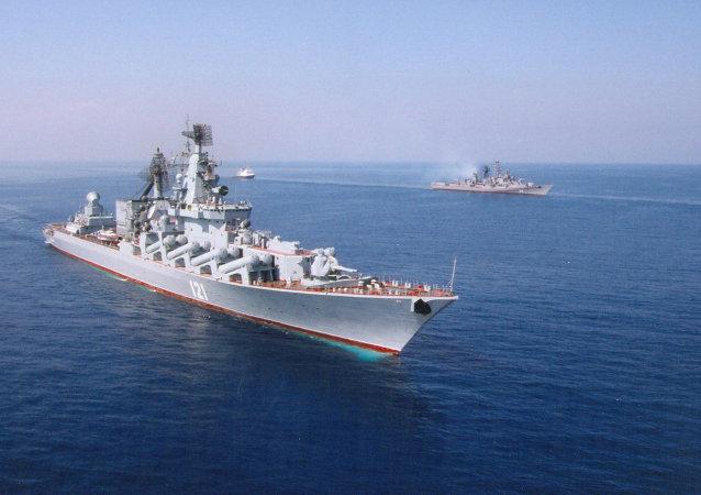 Le croiseur Moskva, vaisseau amiral de la Flotte russe de la mer Noire