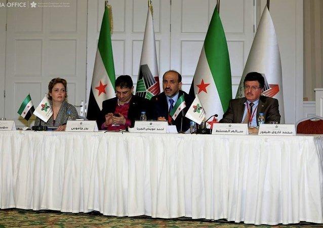 Une délégation de la Coalition nationale syrienne lors d'un congrès en Turquie