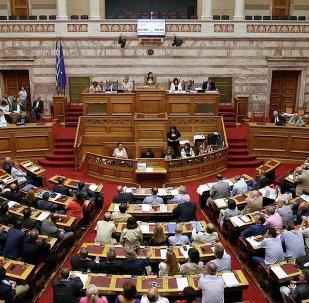 Le parlement grec. Archive photo