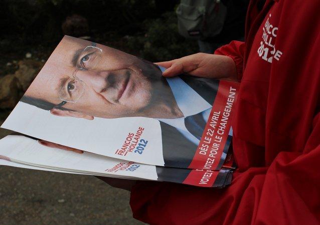 Affiche avec l'image de François Hollade, les élections présidentielles de 2012.