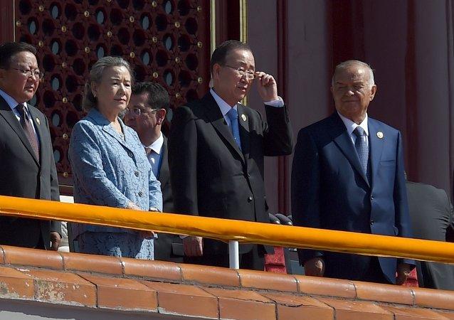 Ban Ki-moon à la parade militaire à Pékin