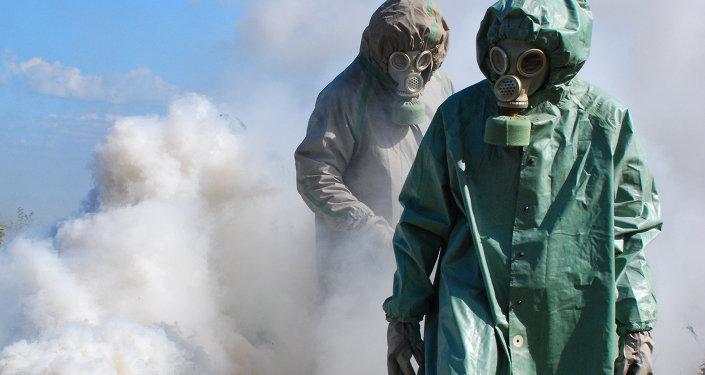 Les gens dans les costumes protecteurs. Image d'illustration