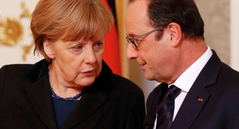 François Hollande et Angela Merkel. Archives