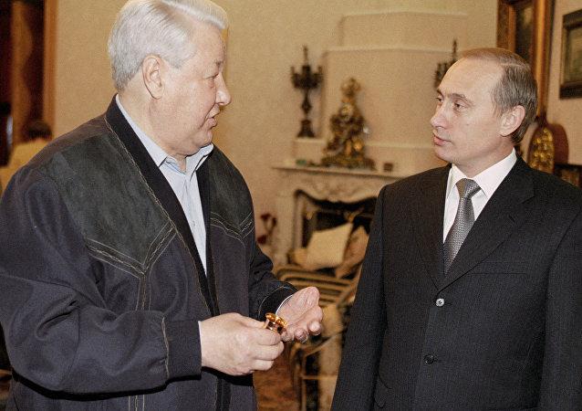Boris Eltsine et Vladimir Poutine
