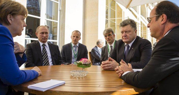 Poutine, Hollande, Merkel et Porochenko