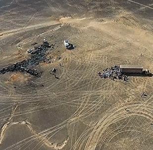 Lieu du crash de l'Airbus russe dans le Sinaï vu depuis un drone