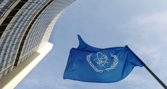 IAEA flag flatters in the wind in front of the International Atomic Energy Agency headquarers in UN city in Vienna