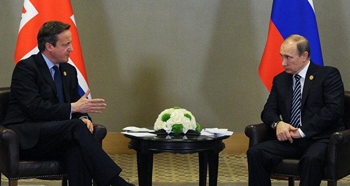 David Cameron lors d'une réunion G20 en Turquie avec le président russe Vladimir Poutine