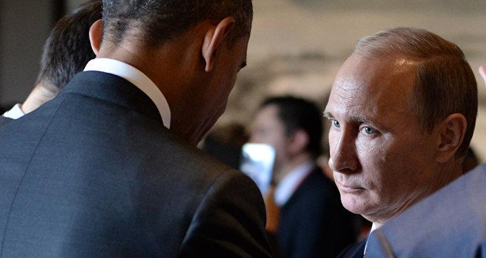 Barack Obama et Vladimir Poutine à Pékin en novembre 2014