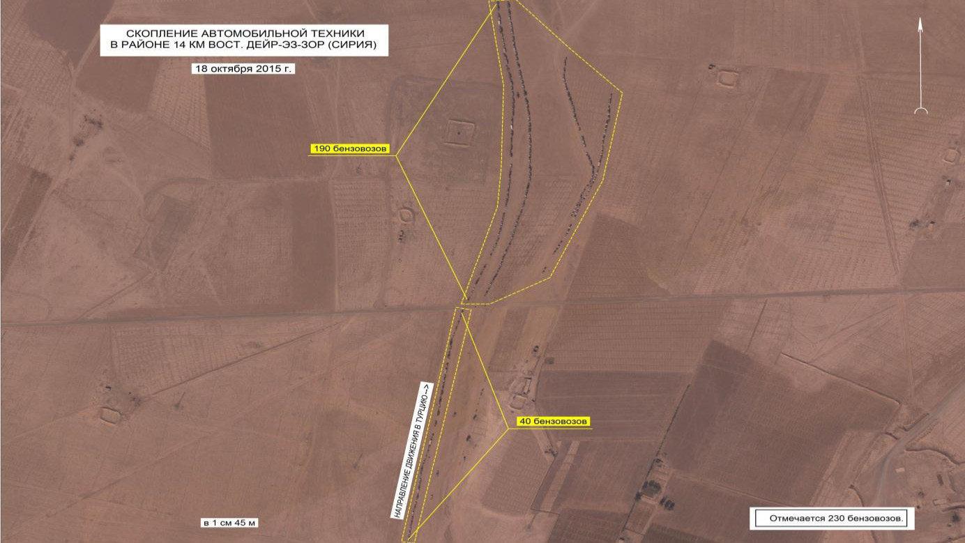 Des camions-citernes garés essentiellement en dehors des routes, dans les environs de Deir ez-Zor