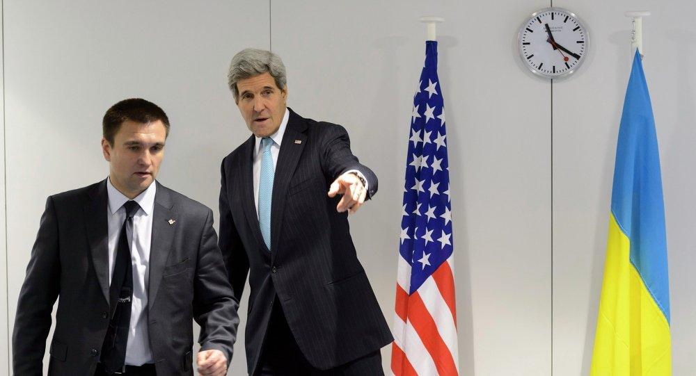 Les chefs de diplomatie ukrainien et américain, Pavel Klimkine et John Kerry