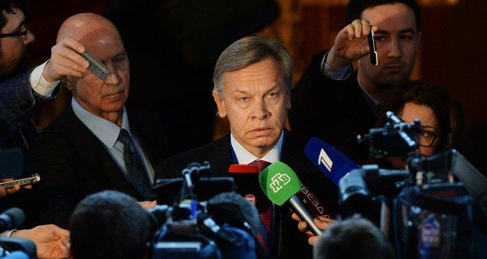 Alexeï Pouchkov intervient en marge d'une session de l'Assemblée parlementaire du Conseil de l'Europe