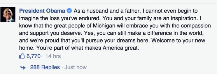 Président Obama a posté un commentaire sur Facebook