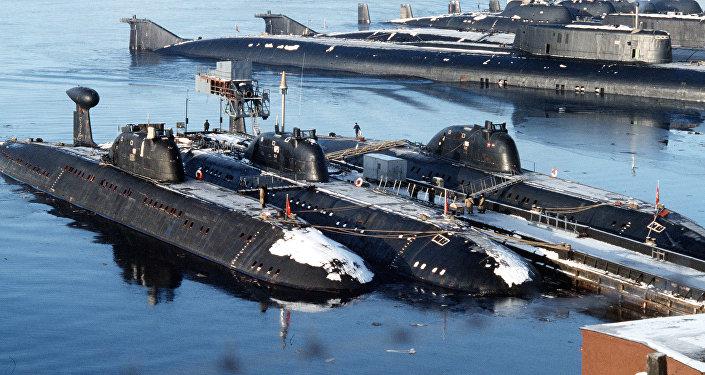 La base de sous-marins de la Flotte du Nord russe. Archive photo