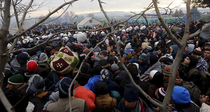 Migrants à la frontière gréco-macédonienne, Déc. 4, 2015.