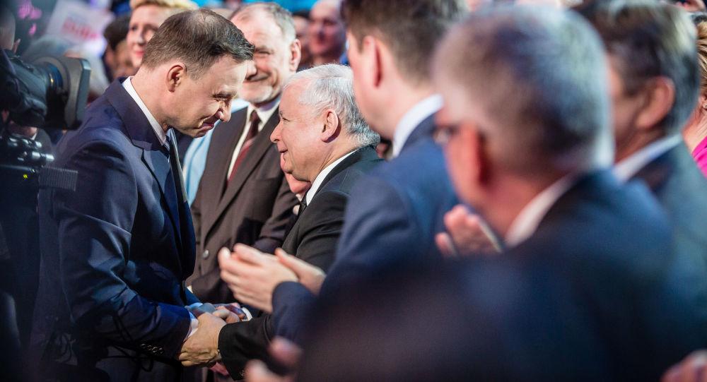 Le président polonais Andrzej Duda et le dirigeant du parti Droit et Justice (PiS) Jarosław Kaczyński