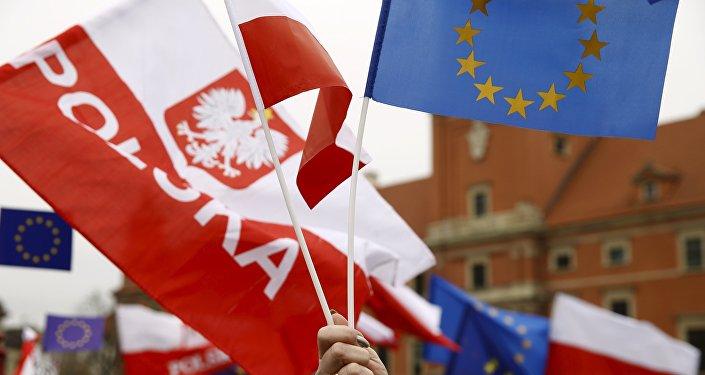 Drapeaux de Pologne et de l'UE