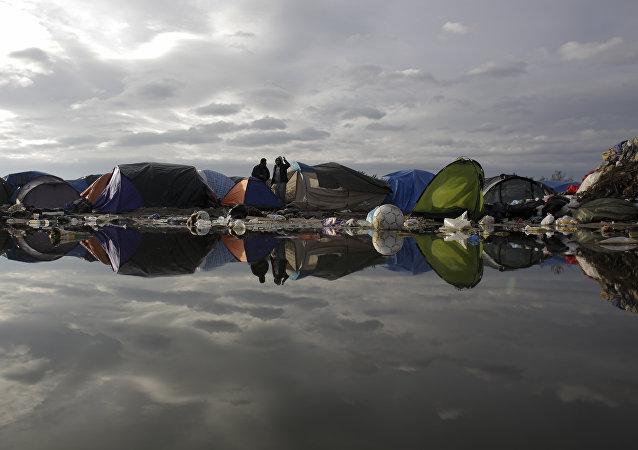 Camp des réfugiés à Calais, nord de la France