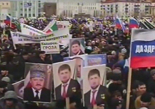 Manifestation en faveur de Poutine à Grozny