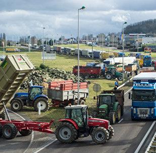 la grève des agriculteurs à Vesoul