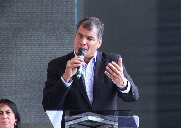 Le président de la République d'Equateur, Rafael Correa