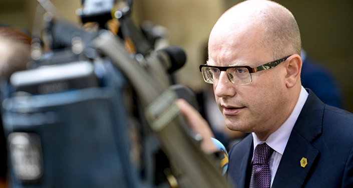 Bohuslav Sobotka, Prime Minister of the Czech Republic, speaks to the press during a high-level meeting on the fight against social dumping and free trade in the European Union, in Brussels, on June 25, 2015