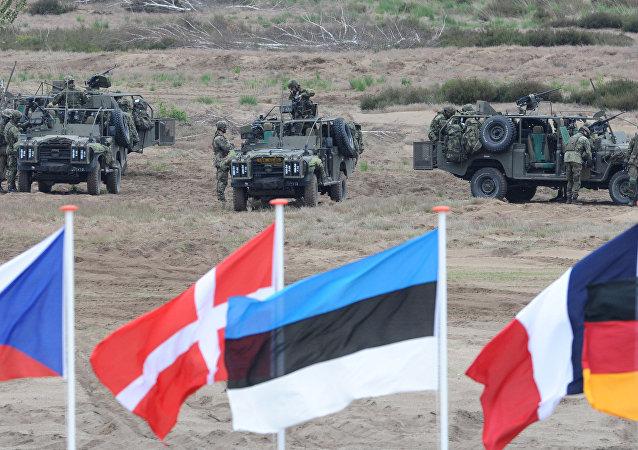Les drapeaux vague en face de soldats qui prennent des positions avec leurs véhicules blindés pendant l'exercice militaire de l'Otan près Swietoszow Zagan, Pologne