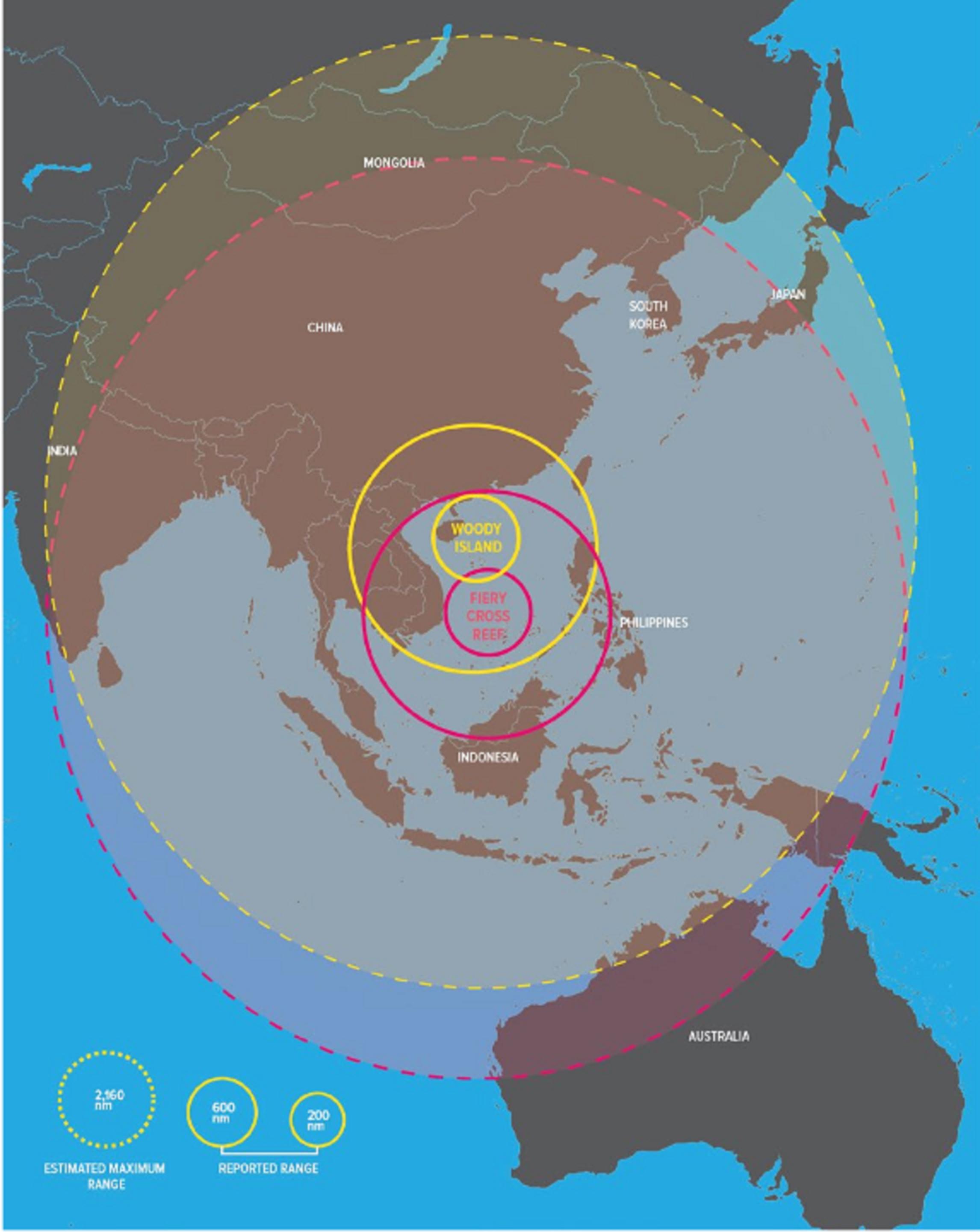 La portée des systèmes chinois A2/AD depuis l'île Woody