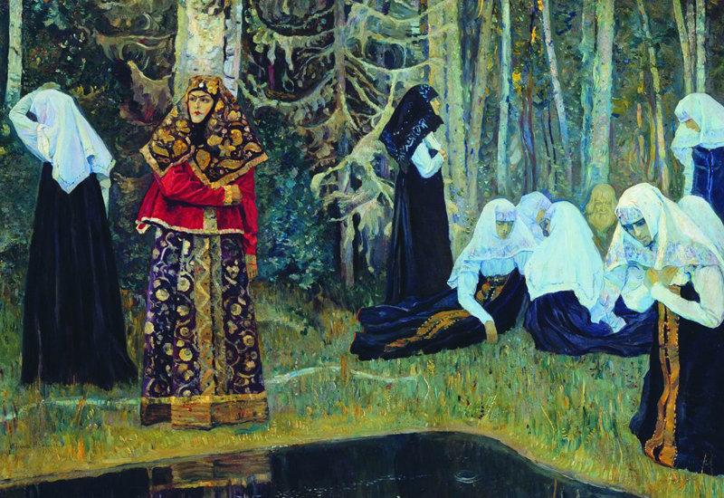 Après avoir conquis plusieurs territoires russes, entre 1263 et 1242, le Khan Batu entendit parler de Kitej et ordonna à son armée de s'y rendre. A la surprise des Mongols, la ville n'avait aucune fortification. Les citoyens n'avaient jamais eu l'intention de se défendre par eux-mêmes et commencèrent à prier avec ferveur, demandant à Dieu de pardonner leurs pêchés. Image: Vsevolod Ivanov.