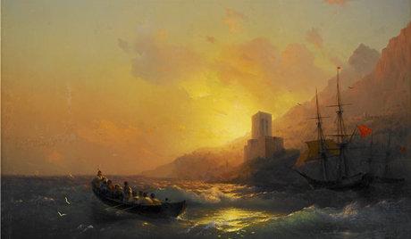 Ivan Aïvazovski «Le coucher de soleil sur la Grande Laure. Le mont Saint Athos» © Photo: echo.msk.ru