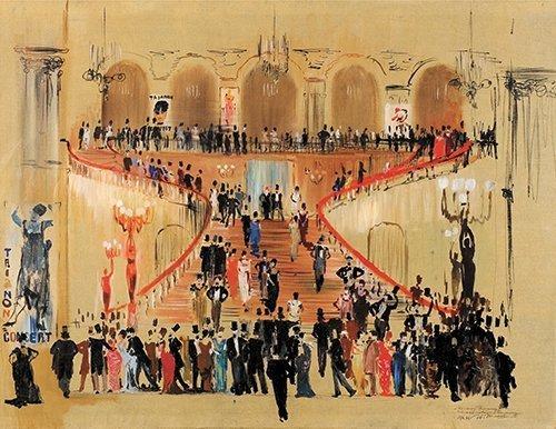 1946 – Bal à Olympie. Esquisse de décors pour le spectacle La Dame aux camélias