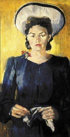 1943 – portrait de N.K.Pimenova en chapeau blanc
