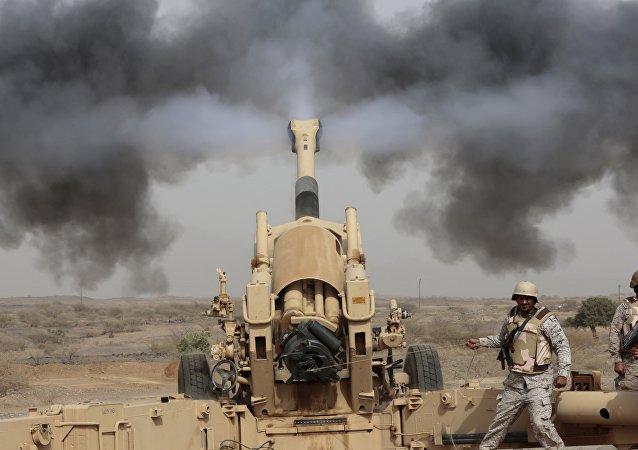 Soldats saoudiens, la frontière saoudienne avec le Yémen. Archive photo