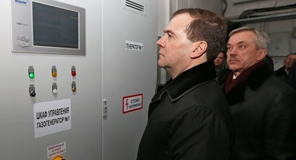 Medvedev nourrit des bactéries dans une usine de biogaz