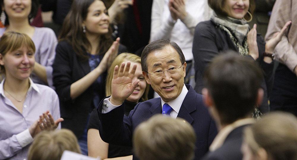 Secrétaire général de l'ONU-Tae Ban Ki-moon et les étudiants