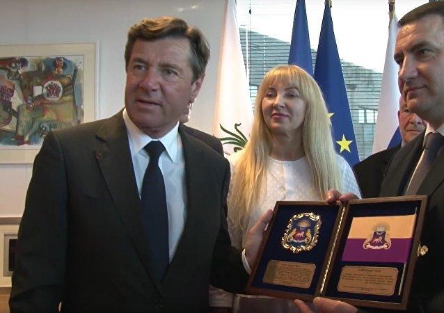 Le maire de Nice, Christian Estrosi et le maire de Yalta, Andreï Rostenko