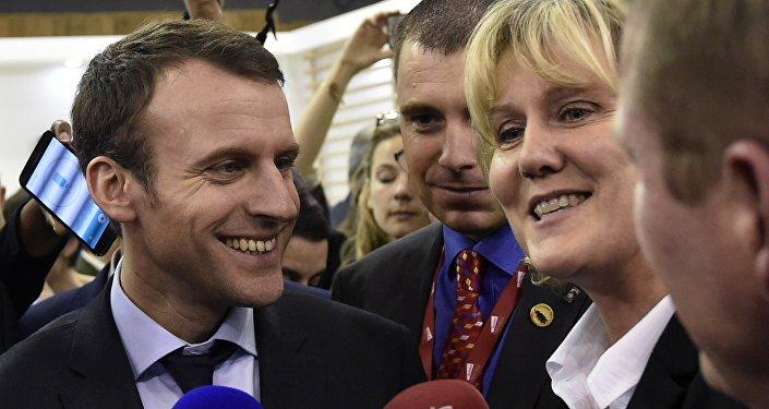 Emmanuel Macron et Nadine Morano au Salon de l'Agriculture