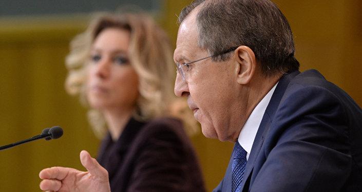 Le ministre russe des Affaires étrangères Sergueï Lavrov lors d'une conférence de nouvelles à Moscou.