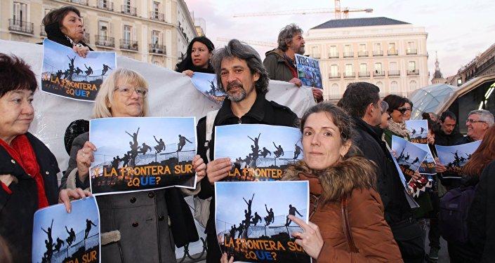 Manifestation contre l'accord UE-Turquie à Madrid