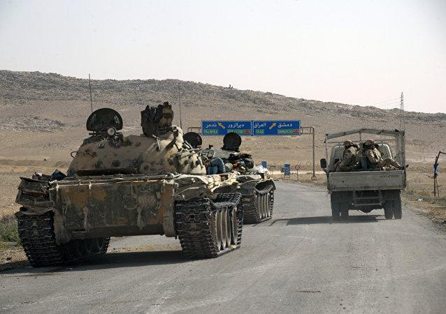 Militaires syriens dans la région de Palmyre