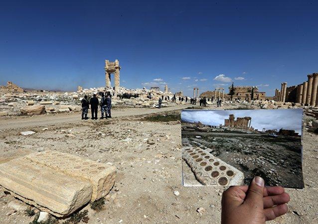 Les ruines du Temple de Bêl à Palmyre