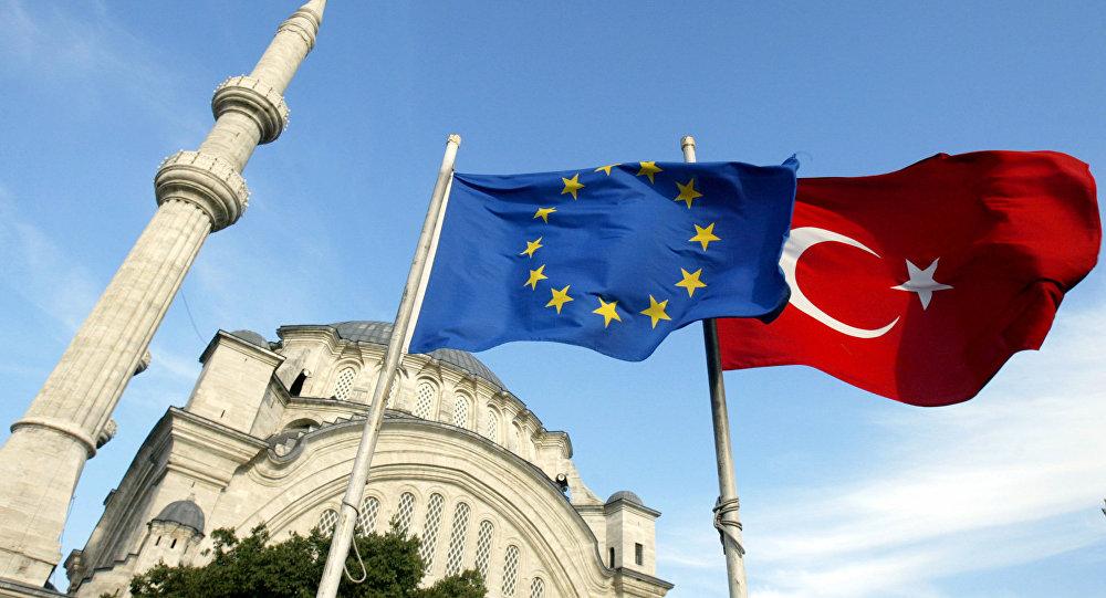 Drapeau de la Turquie et de l'UE