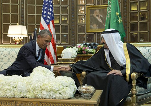 Barack Obama et le roi d'Arabie saoudite Salman bin Abdul Aziz